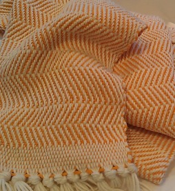 Jackie Made This Orange Chevron Shawl