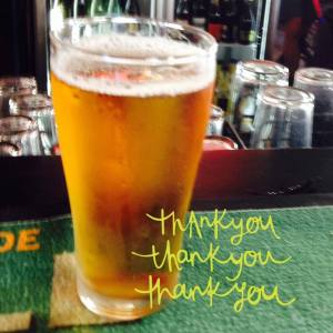 Thanks with beer